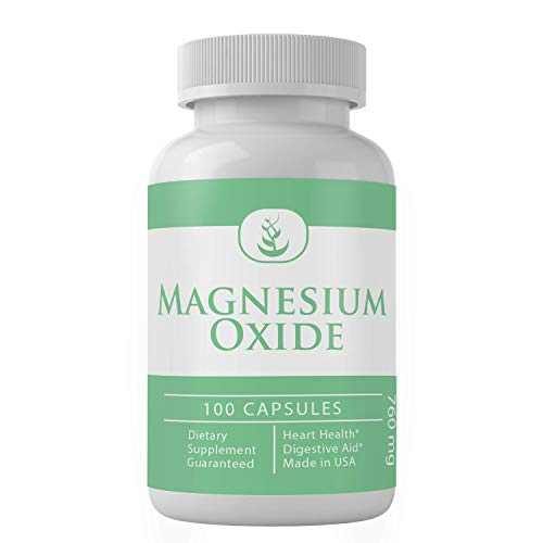 Magnesium Oxide (100 Capsules, 760 mg Serving), Rich in Actual Magnesium, Heart Healthy, for Healthy Muscles & Nerves, Gluten-Free*