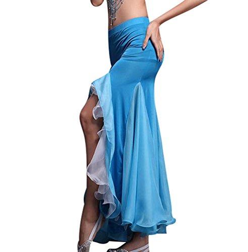 YiJee Donna Discoteca Gonna danza del ventre fessura del lato doppio colore Maxi Gonne Taglia unica Azzurro