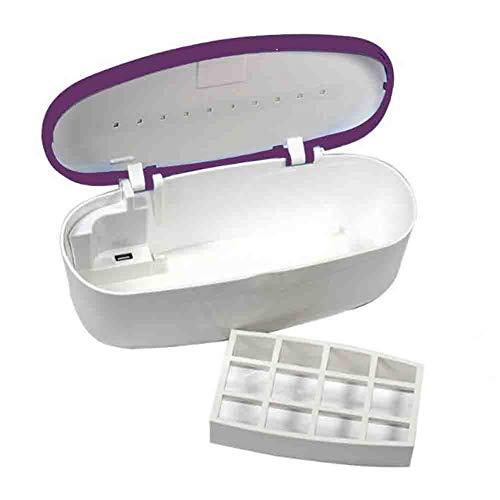 Stérilisateur D'ongle Portable Nail Art Beauté Cils Outil Intelligent Boîte De Désinfection UV Stérilisation Cabinet De Nettoyage USB Charge,Purple