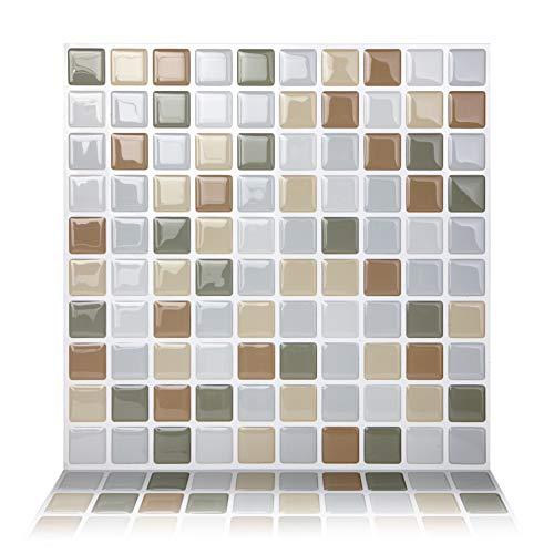 Tic Tac Tiles 25 cm x 25 cm 10 Láminas, 3D Azulejos Adhesivo Mosaico Pegatinas para azulejos de la pared para Cocina y Baño - Mosaico Gris Beige