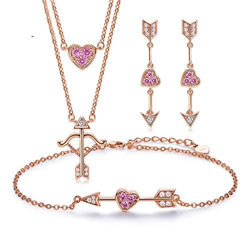H.L Gioielli in Oro Rosa 18 carati Set Tre cupidi Amore in Argento Sterling Collana Bracciale e Orecchini a Forma di Cuore con Diamanti CZ Regalo per Le Donne