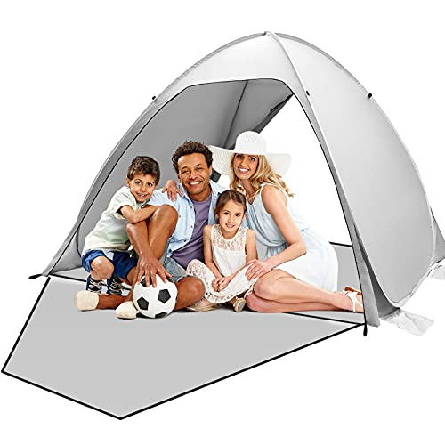 Qomolo Tenda da Spiaggia Ospita 3-4 Persones, Pop Up Tenda da Campeggio con Sacchi di Sabbia Antivento, Tenda Parasole Portatile Protezione UV, per Spiaggia, Campeggio (Grigio)