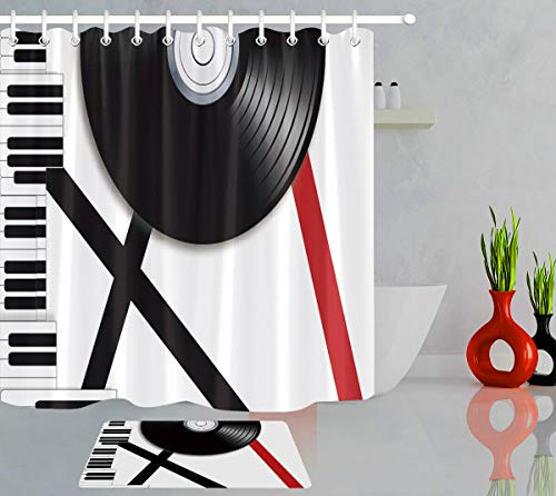 AdaCrazy Klavier Instrument Vinyl Schallplatte Duschvorhang Set Plane Haken Bad Vorhang 71x71 Zoll Flanell Badematte 40x60cm einschließlich 12 Kunststoff Haken wasserdichtes Material