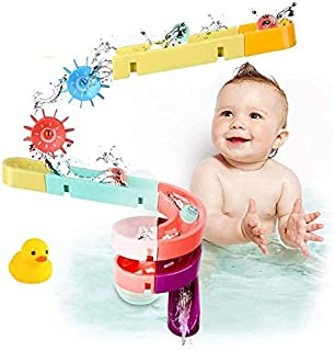 Kids Bath Toys Assemble Set - 24PCS DIY Wall Suction Water Slide Bathtub Toys for Toddlers Boys and Girls 3-6 Years Old