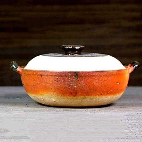 QZH Cocina de arroz, cazuela de cerámica resistente al calor, cacerola de la salud, olla caliente, olla de arroz de loza, olla de guiso lento, utensilios de cocina de cerámica B 2l