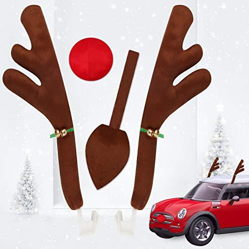 Qhui Rentier Auto Weihnachtsdekor, Weihnachtsdeko Auto mit Rentiergeweihe Braunes Schwanz Rote Nase und Weihnachtenaufkleber Elche, Rentier Deko Weihnachten Rudolf für Truck Van SUV