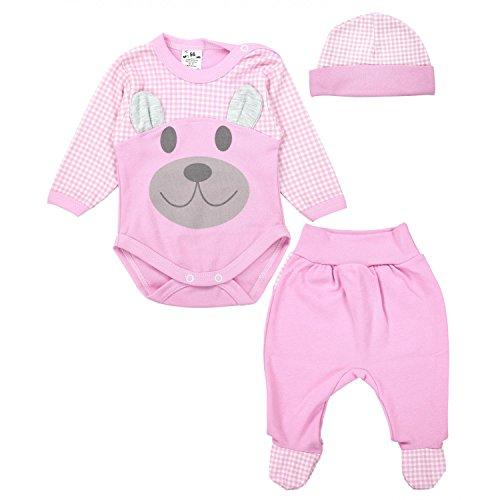TupTam Baby Kleidung Set Body Strampelhose Mütze Teddybär, Farbe: Rosa, Größe: 62