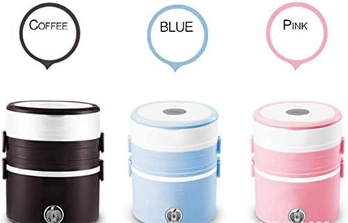 Chauffage électrique Boîte à lunch isolation Plug-Portable automatique protection contre la surchauffe Anti-sec à faible pot trois couches, Bleu,café Rose