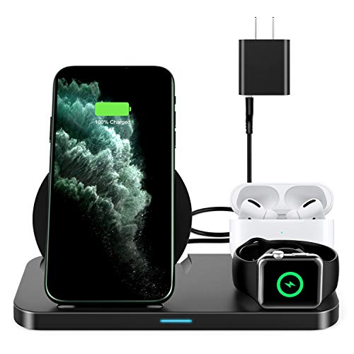 2020 New Update Wireless Charging Station,3 in 1 Qi-Certified Wireless Charger for AirPods/Apple Watch Series 5/4/3/2/1,Fast Wireless Charging Stand for iPhone 11/11 pro/11 Pro Max/XS Max/XR/X/8P