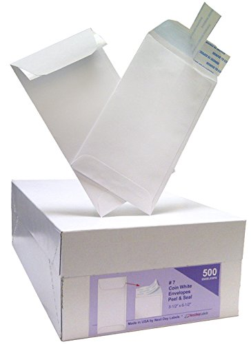 #7 Coin White Envelope for Small Parts, Cash, Jewelry Etc., 500 Per Box (500 Peel & Seal)