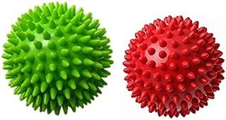 Therapist's Choice Pack of 2 Spiky Massage Balls, Hard & Soft Combo, Stress Reflexology, Porcupine Sensory Ball Set