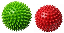 Therapist's Choice® Pack of 2 Spiky Massage Balls, Hard & Soft Combo, Stress Reflexology, Porcupine Sensory Ball Set