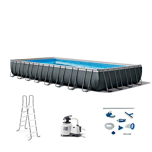 Intex 26373EH 32ft x 16ft x 52in Ultra XTR Frame Outdoor Above Ground Rectangular Swimming Pool Set with Sand Filter Pump, Ladder, Ground Cloth, Pool Cover, and Maintenance Kit