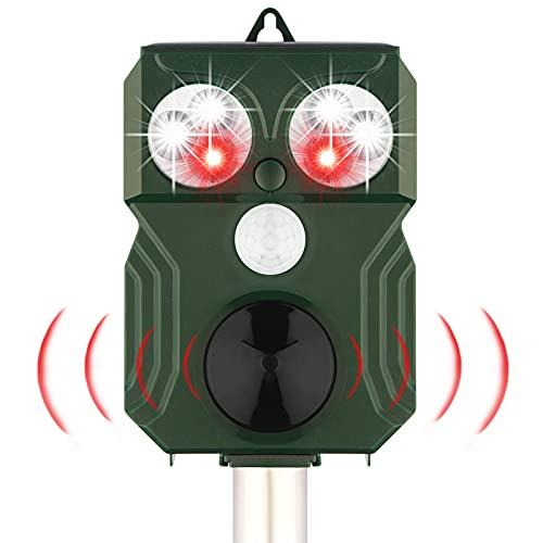 JTENG Repellente Gatti Ultrasuoni e LED Flash per Gatti, Cani, Cinghiali, ect, Impermeabile IP66& Solare, per Esterno