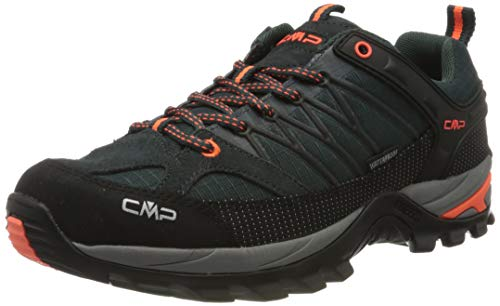 CMP – F.lli Campagnolo Herren Rigel Low Shoe Wp Trekking- & Wanderhalbschuhe, Grün (Jungle-Flash ORANGE 32TE), 42 EU