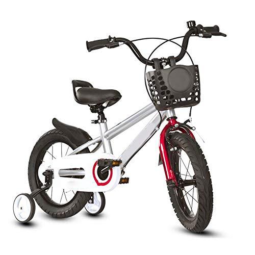 YumEIGE kinderfiets 14 16 18 inch (3 – 9 jaar), frame van hoogkoolstofstaal met trainingswielen en mand, verstelbare stoel en stuur, cadeau 14in zilver.