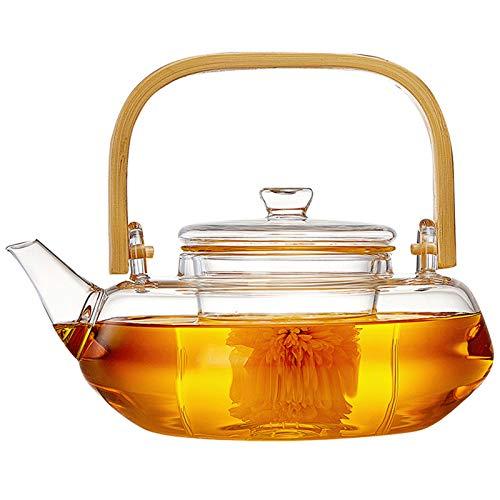 ZHXY Tetera Cristal,Taza para té de Vidrio de borosilicato con Filtro y Tapa - Taza para infusión con Filtro de Cristal y Mango de bambú,sin Goteo,800ML,Transparente.