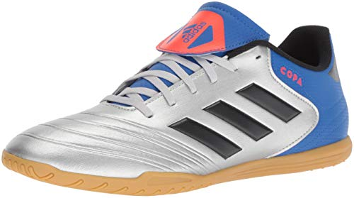 adidas Men's Copa Tango 18.4 in Soccer Shoe, Silver Metallic/Black/Football Blue, 10 M US