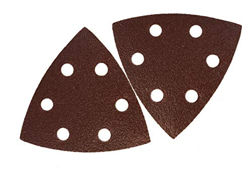 SBS - Triángulo de lija (50 unidades, velcro, 93 x 93 x 93 mm, grano 240, para lijadora delta, 6 agujeros)