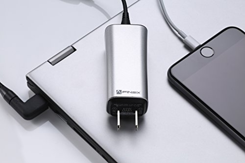"""超小型65W ノートPC汎用 ACアダプター FINsix """"Dart"""" (シルバー)超軽量85g 11種類の変換プラグで1000機種以上のノートPCに対応 USB5V出力付きでPCとスマホ同時充電 ※必ずご使用のPCとの互換性をご確認ください。『PSE認"""