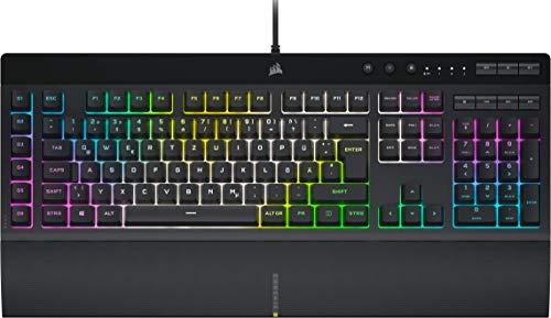 Corsair K55 RGB PRO XT Kabelgebundene Membran-Gaming-Tastatur (Dynamische RGB-Hintergrundbeleuchtung, 6 Makro-Tasten mit Elgato Software-Integration, IP42 Staub-und Spritzwasserschutz) QWERTZ, Schwarz