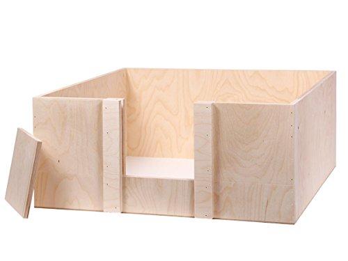 Alsino Wurfbox Welpenbox Wurfkiste Welpenkiste für Hunde & Katzen, aus Holz - handgefertigt - Maße: 60 x 60 x 25 cm