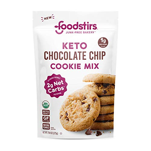 Foodstirs Junk-Free Bakery Organic Keto Chocolate Chip Cookie Baking Mix 7.94 oz |Low Carb Sweets & Treats | Non-GMO | Grain Free, Gluten Free | Healthy Diabetic, Paleo & Ketogenic Desserts | 1g Added Sugar