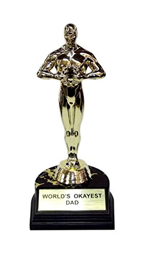 """aahs!! Engraving World's Okayest Dad Trophy-7"""" H x 3.25"""" L x 3.25"""" W"""