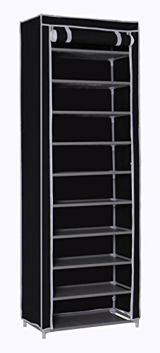 "Homebi 10-Tier Shoe Rack 30 Pairs Shoe Tower Closet Shoes Storage Cabinet Portable Boot Organizer with Dustproof Non-woven Fabric Cover and 10 Durable Shelves,24.2""W x 12.4"" D x 68.3""H (Black)"