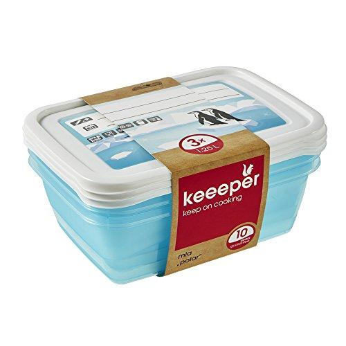 keeeper Tiefkühldosenset 3-teilig, Wiederbeschreibbarer Deckel, 3 x 1,25 l, 20,5 x 15,5 x 6,5 cm, Mia Polar, Eisblau Transparent