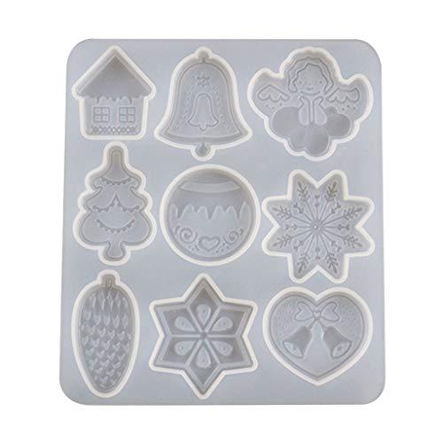 Fugift Kristall-Silikonform mit Epoxidharz, Weihnachtsmotiv, für Anhänger, DIY, Handwerk, Schmuckherstellung