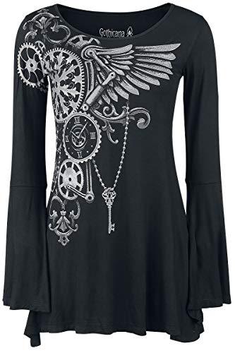 Gothicana by EMP Bat Country Mujer Camiseta Manga Larga Negro M, 95% Viscosa, 5% elastán, Regular