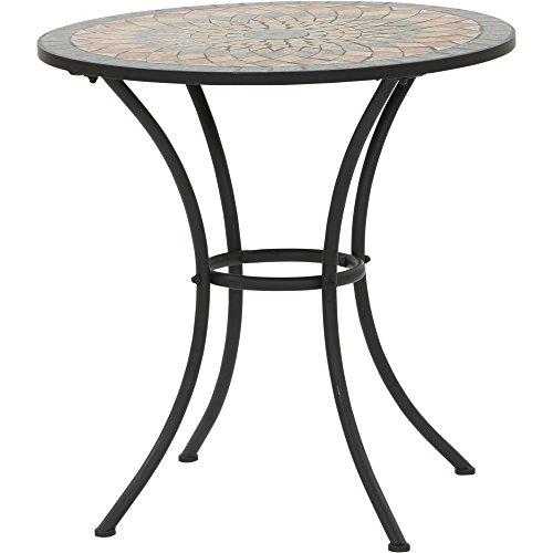 Siena Garden Tisch Prato, Ø70x71cm, Gestell: Stahl, pulverbeschichtet in schwarz matt, Fläche: Mosaik,Tischplatte: Keramik
