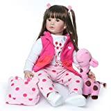 Zero Pam Reborn Dolls Toddler Girl 24 inch 60 cm Realistic Huggable Soft Body Doll with Clothes for Kids Above 3+ Years Gift Set Dollhouse Dolls