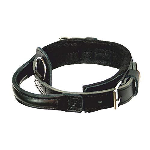 Dingo Gear Hero - Collar de Piel auténtica Hecho a Mano con asa Ajustable Color Negro