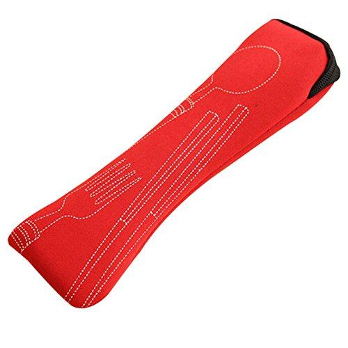 Ensemble de couvert 3 pièces de camping/voyage portable en acier inoxydable Bluelans® (baguettes, fourchette, cuillère) avec étui en néoprène