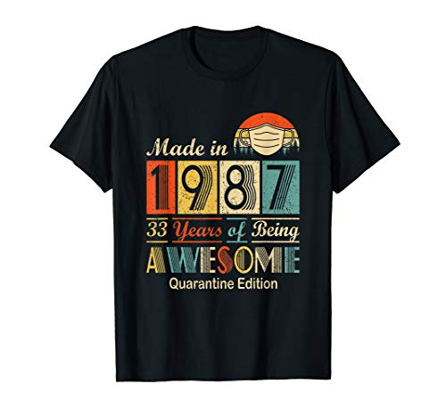 Made In 1987 33rd Birthday Quarantine Gift 33 Years Old T-Shirt