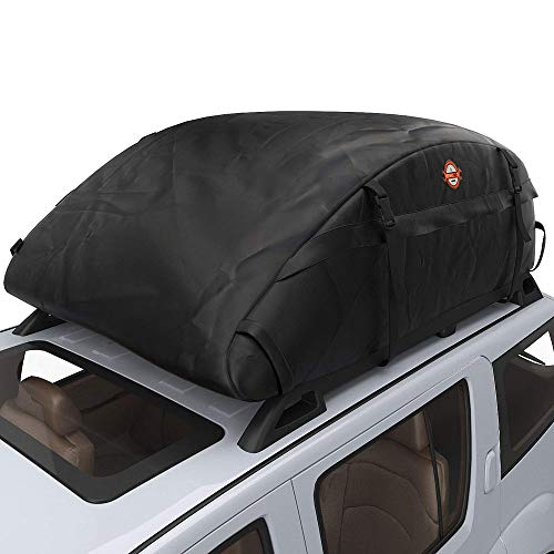 Sailnovo Faltbare Auto Dachbox, 16.7 Kubikfuß Dachkoffer Wasserdichte Dachtasche Auto Faltbox Dach Dachgepäckträger Tasche für Reisen und Gepäcktransport, Schwarz