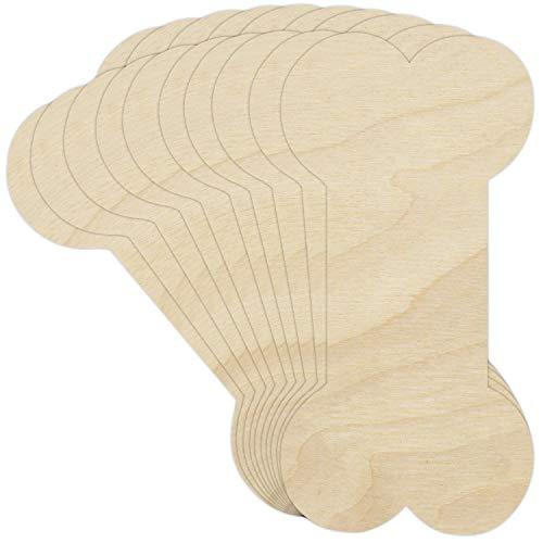 Creative Deco 10 x Große Hundknochen-Anhängers aus Sperr-Holz | 15 x 7,5 cm | Unlackierten Form-Scheiben | Perfekte Ausschnite für Bemalen, Dekorieren, Geschenk & Decoupage