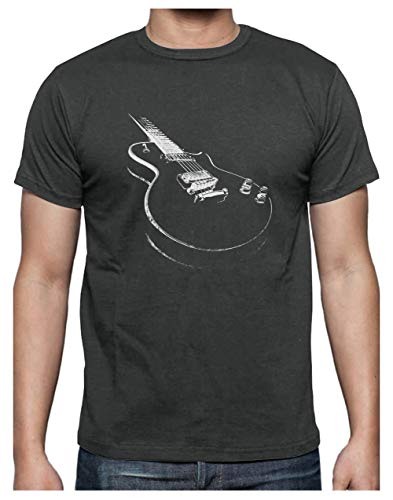 Camiseta para Hombre - Camisetas Guitarra Electrica Camisetas Hombre Rock - Large Gris Antracita