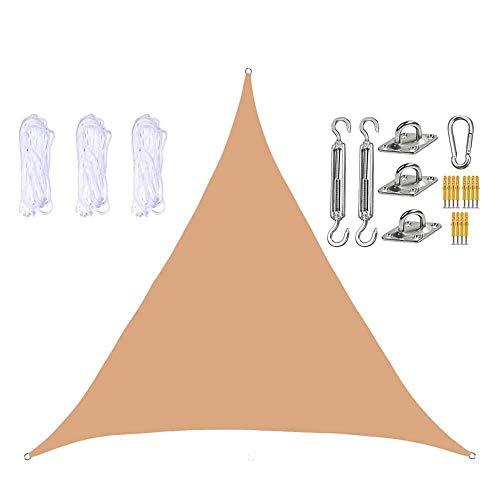 JJIIEE Toldo Triangular de Vela Parasol, 98% de Bloqueo UV para terraza de jardín al Aire Libre, con Cuerdas y Kit de Montaje de Acero Inoxidable,Sand Yellow,2.4 x 2.4 x 2.4m
