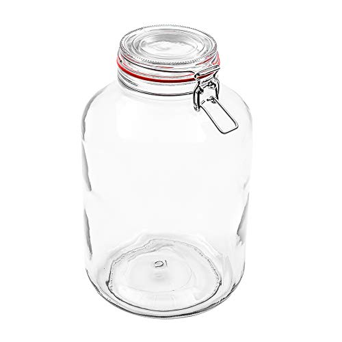 Flaschenbauer - 1 Drahtbügelgläser 4880ml verwendbar als Einmachglas, zu Aufbewahrung, Gläser zum Befüllen, Leere Gläser mit Drahtbügel