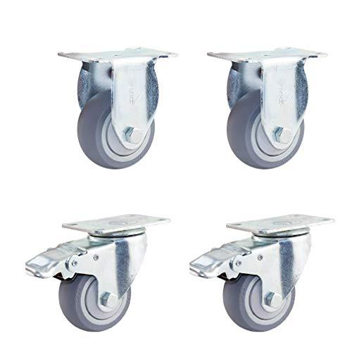 GAXQFEI Pack of 4 Caster Wheels,3″/4″/5″ Casters,Heavy Duty Niture Caster,Heavy Duty Caster with Brake,Heavy Duty Casters for Pallet Niture, Niture Casters(4 Swivel5In),2 Tandard+2