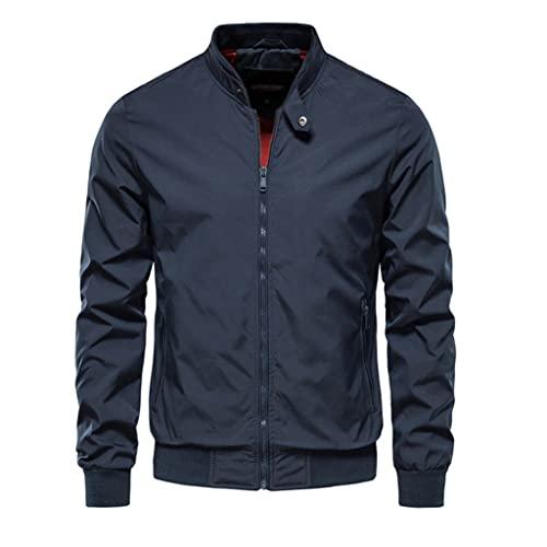 LSDJGDDE Chaqueta de béisbol de color sólido Hombres Soporte casual Collar Chaquetas for hombre Jackets delgado de otoño chaquetas for hombres (Color : B, Size : Asia XL 65-75 kg)