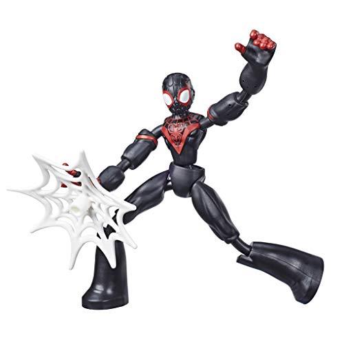 Marvel Spider-Man Bend and Flex, Action figure di Miles Morales, figura flessibile di 15 cm, include accessorio per la ragnatela, dai 6 anni in su