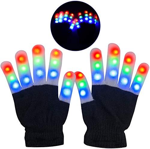 ARTOYS LED Party Handschuhe,leuchtende Handschuhe für Kinder Jugend,ab 8 Jahre,6 Modus Bunte Finger Glow,Spielzeug Geschenk Blinkende Handschuhe für Clubs,Weihnachten,Halloween,Karneval,Neujahr