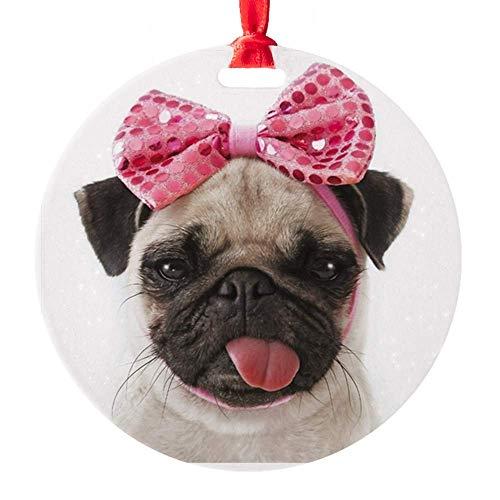 EaYanery Pug Round Christmas Ornament Xmas Gifts Christmas Tree Ornaments Ideas 2019