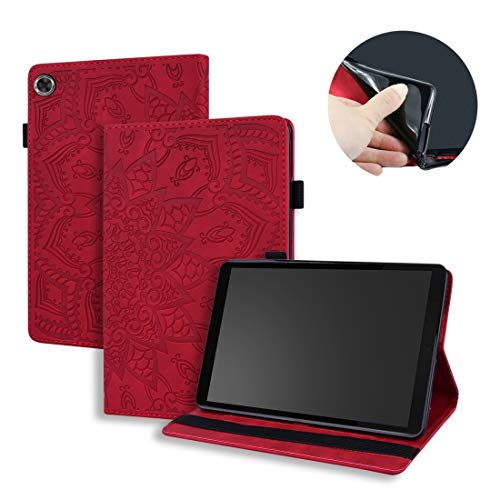 XHEVAT Funda de piel para tablet Lenovo Tab M8 TB-8505F 8505X 8.0, doble diseño plegable, con soporte, ranuras para tarjetas, ranura para bolígrafo y banda elástica, color rojo