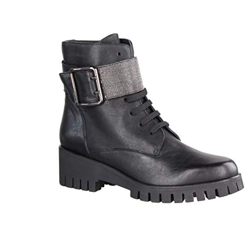 Donna Carolina 34.699.155 Nero/Maglina (schwarz) - ungefütterte Stiefelette - Damenschuhe Modische Stiefelette/Boots, Schwarz, Leder, absatzhöhe: 40 mm