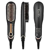 ★ 【Keine Haarverletzung】 Dieser Haarglätter-Kamm ist eine elektrische Haarglätter-Bürste speziell für die tägliche Pflege. Vermeiden Sie es, Ihr Haar bei hohen Temperaturen zu verbrennen. Es hilft ihr Haar zu entwirren und es sofort zu glätten, währe...